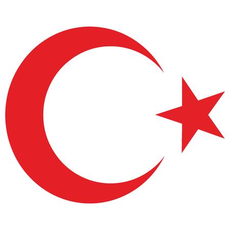 Nationales Emblem der Republik Türkei. Stern und Halbmond. Vektorformat.