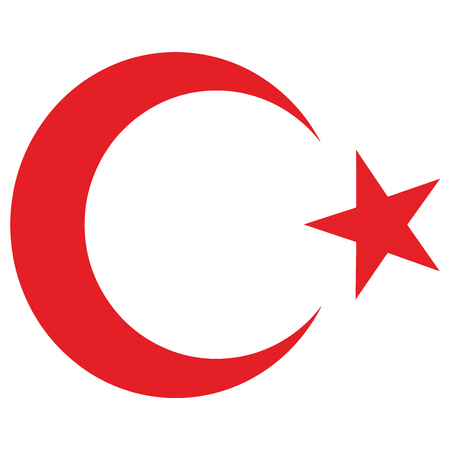 National Emblem of the Republic of Turkey. star and crescent. Vector Format. Illustration