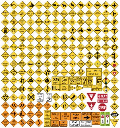 Tutti i segnali stradali importanti. Serie di cartelli di avvertimento in formato vettoriale.