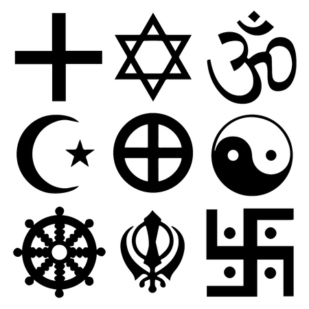 Religious symbols from the top organised faiths of the world according to Major world religions. All important signs in Vector Format.