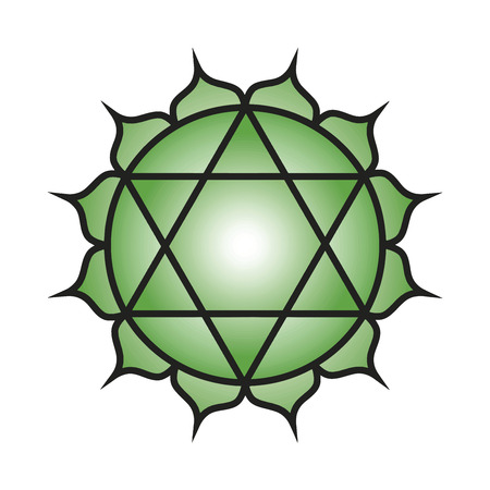Seven major chakras. Anahata symbol. Heart chakra is symbolised by a circular flower with twelve green petals called the heartmind. Within it is a yantra of two intersecting triangles, forming a hexagram, symbolising a union of the male and female. Vector
