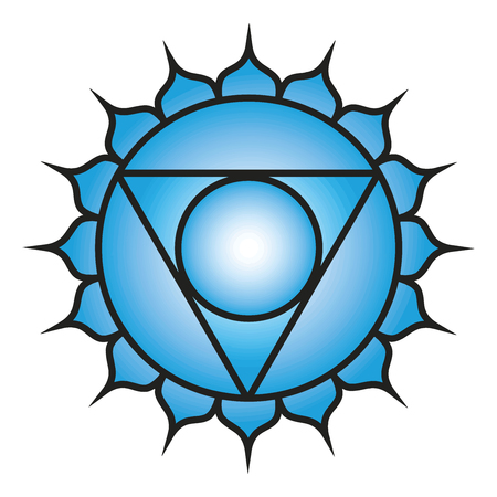 Seven major chakras. Vishuddha symbol. Vishuddhi, or throat chakra is depicted as a silver crescent within a white circle, with 16 light or pale blue, or turquoise petals. Vector Format.