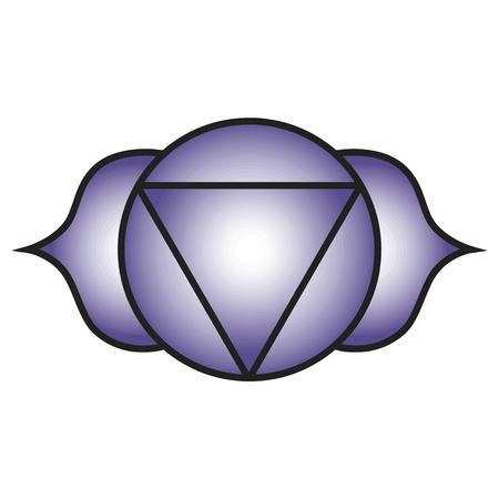 7 主要なチャクラ。Ajna のシンボル。第 3 の目のチャクラは結ばれた 2 つの花弁を持つ蓮バイオレット、インディゴ、深い青の色に対応しています。
