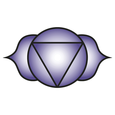 Seven major chakras. Ajna symbol. Third-eye chakra is symbolised by a lotus with two petals, and corresponds to the colours violet, indigo or deep blue. Vector Format. Illustration