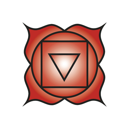 muladhara: Seven major chakras. Muladhara symbol. Root chakra is symbolised by a lotus with four petals and the colour red. This centre is located at the base of the spine in the coccygeal region. Vector Format.