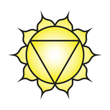 Seven major chakras. Manipura symbol. Solar plexusnavel chakra is symbolised by a downward pointing triangle with ten petals, along with the colour yellow. Vector Format.