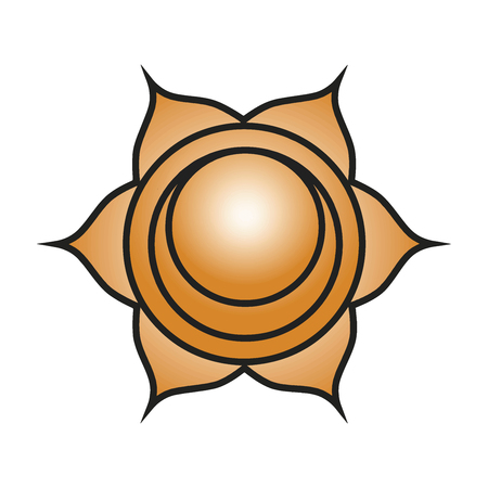 Seven major chakras. Svadhishthana symbol. Sacral chakra is symbolised by a white lotus within which is a crescent moon, with six vermilion, or orange petals. Vector Format. Illustration
