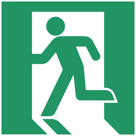 implementations: Exit sign. Japanese exit sign, running man. Sign in parts of Asia-Pacific, Europe and Canada. Actual implementations vary slightly. Vector Format. Illustration