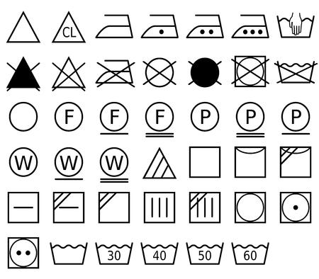 Un símbolo de lavandería, también llamado símbolo de cuidado, es un pictograma que representa un método de lavado. Formato vectorial