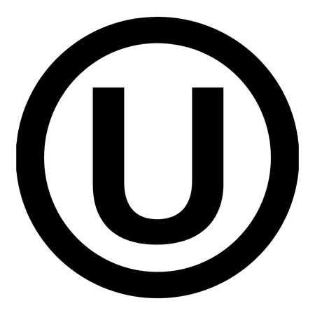 Orthodox Union Kashrut supervision symbol. The hechsher of the Orthodox Union is the most widely known kosher certification in the world. Vector Format. Illustration