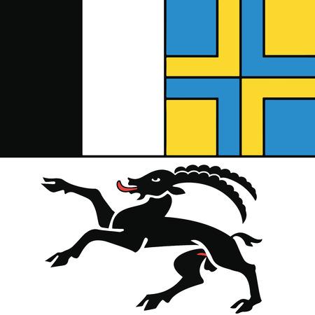Flag of Canton of Graubunden, Switzerland. Vector Format