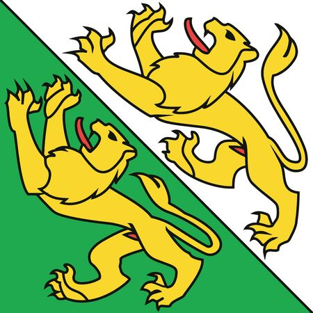 Flag of Canton of Thurgau, Switzerland. Vector Format Illustration