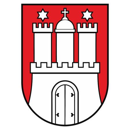 Coat of arms of Hamburg, Germany. Vector Format.