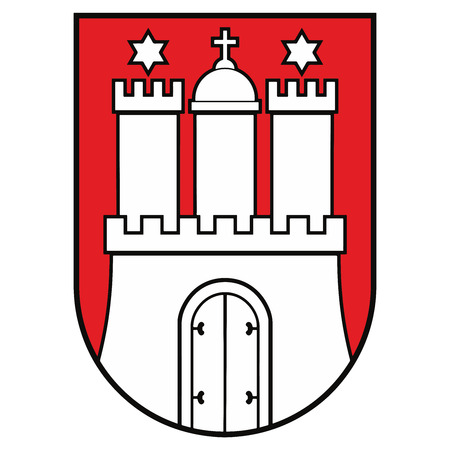 Coat of arms of Hamburg, Germany. Vector Format.