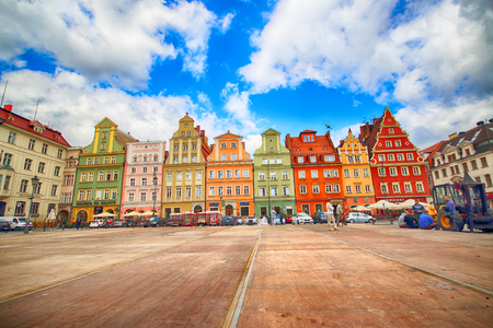 WROCLAW, POLAND - JULY 13, 2017: Wroclaw Old Town. Salt Square. City with one of the most colorful market squares in Europe. Historical capital of Lower Silesia, Poland, Europe.