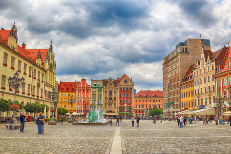 WROCLAW, POLAND - JULY 13, 2017: Wroclaw Old Town. City with one of the most colorful market squares in Europe. Historical capital of Lower Silesia, Poland, Europe.