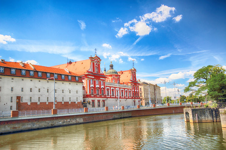 WROCLAW, POLAND - JULY 29, 2017: Wroclaw Old Town. Building of the Ossolineum Library. Historical capital of Lower Silesia, Poland, Europe.