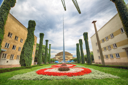 WROCLAW, POLAND - AUGUST 04, 2017: Centennial Hall with Iglica Monument (Spire). The Hall's inscription on UNESCO World Heritage List in 2006 emphasized the rank of this facility. Editorial