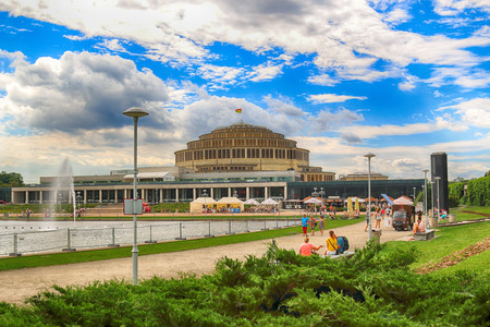 WROCLAW, POLAND - AUGUST 04, 2017: Centennial Hall and Multimedia Fountain. The Hall's inscription on UNESCO World Heritage List in 2006 emphasized the rank of this facility. Designed by Max Berg. Editorial