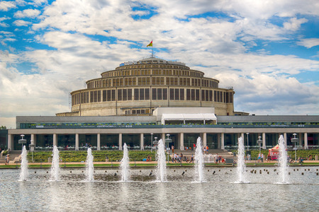 WROCLAW, POLAND - AUGUST 04, 2017: Centennial Hall and Multimedia Fountain. The Hall's inscription on UNESCO World Heritage List in 2006 emphasized the rank of this facility. Designed by Max Berg.