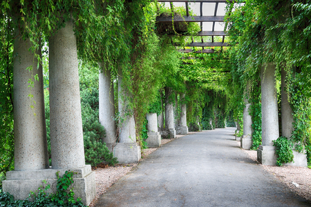 WROCLAW, POLAND - AUGUST 04, 2017: Pergola - a 640 meter long structure built in 1913 in the shape of a semi-ellipse as an integral part of the Centennial Hall's Exhibition Grounds.