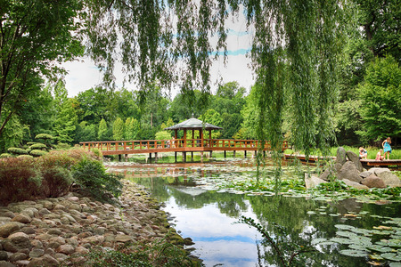 WROCLAW, POLAND - AUGUST 04, 2017: Japanese Garden is situated in the vicinity of the historical Pergola and Centennial Hall. It represents one of few traces after the World Expo in 1913.