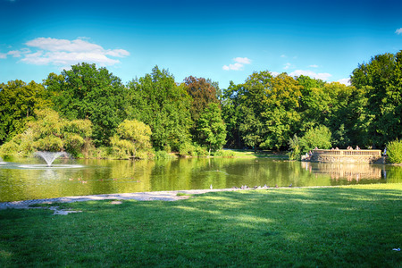 WROCLAW, POLAND - AUGUST 07, 2017: South Park in Wroclaw was built out of nothing in the south of the city in 1877. Hugo Richter and Ferdinand Cohn had created a park with meadows and a large pond.