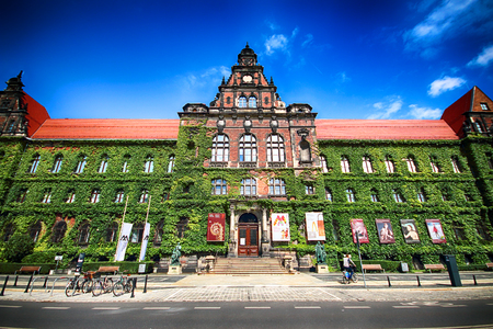 WROCLAW, POLAND - AUGUST 14, 2017: Wroclaw Old Town. The National Museum in Wroclaw occupies the building designed by an architect Karl Friedrich Endell and erected in 1883 - 1886. Editorial