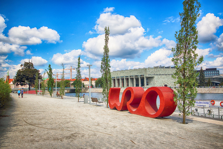 WROCLAW, POLAND - AUGUST 14, 2017: WRO sign on the boulevard nearby Grunwaldzki bridge. Wroclaw City Council announced the construction and 3 designs were put forward for the public to vote on.