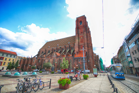 st german: WROCLAW, POLAND - AUGUST 23, 2017: Cathedral of St. Mary Magdalene is one of the oldest temples in the city. Built in 1226-1232, it was the first parish church, gathering the then German colonists. Editorial