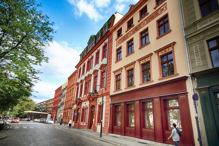 WROCLAW, POLAND - AUGUST 23, 2017: Wroclaw Old Town. Nankiera Square. Historic buildings on a summer day. Historical capital of Lower Silesia, Poland, Europe.