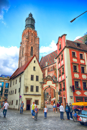 WROCLAW, POLAND - AUGUST 23, 2017: Wroclaw Old Town. St. Elizabeth Minor Basilica (The Garrison Church) is one of the most important city churches and one of the symbols of Wroclaw.