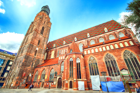 WROCLAW, POLAND - AUGUST 23, 2017: Wroclaw Old Town. St. Elizabeth Minor Basilica (The Garrison Church) is one of the most important city churches and one of the symbols of Wroclaw. Editorial