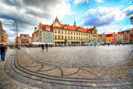 WROCLAW, POLAND - AUGUST 23, 2017: Wroclaw Old Town. City with one of the most colorful market squares in Europe. Historical capital of Lower Silesia, Poland, Europe.