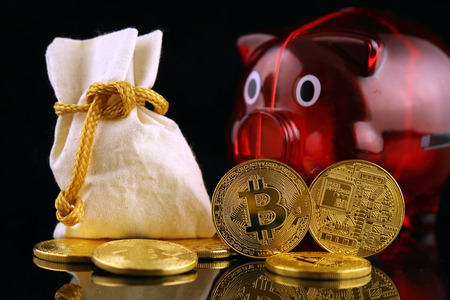 Physical version of Bitcoin (new virtual money) and Piggy Bank. Conceptual image for worldwide cryptocurrency and digital payment system called the first decentralized digital currency. Stock Photo