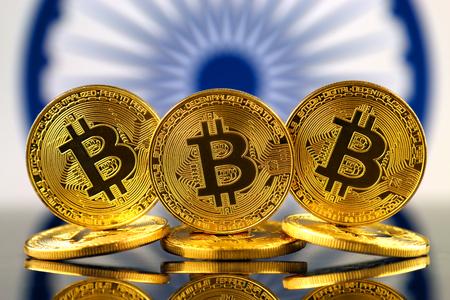 ビットコイン (新しい仮想マネー) とインドフラグの物理バージョン。インドにおける暗号通貨とブロックチェーン技術の投資家のための概念