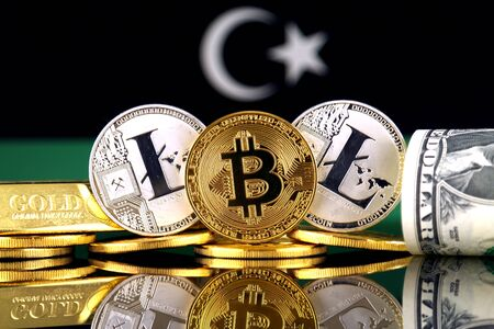 Physical version of Bitcoin, Litecoin, gold, US Dollar and Libya Flag. Conceptual image for investors in cryptocurrency, gold and dollars. Stock Photo