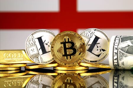 Physical version of Bitcoin, Litecoin, gold, US Dollar and England Flag. Conceptual image for investors in cryptocurrency, gold and dollars.