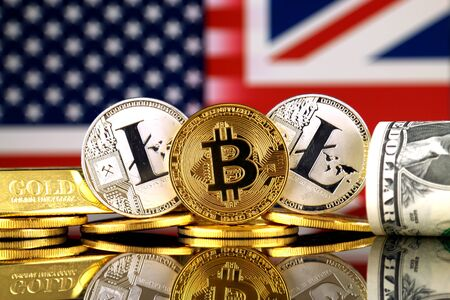 Physical version of Bitcoin, Litecoin, gold, US Dollar, United States and United Kingdom Flag. Conceptual image for investors in cryptocurrency, gold and dollars.