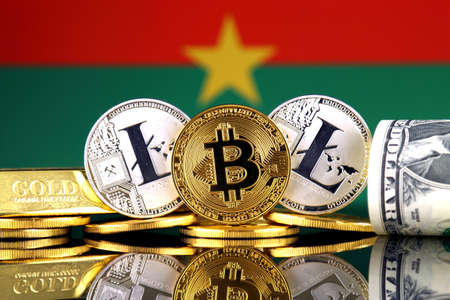 Physical version of Bitcoin, Litecoin, gold, US Dollar and Burkina Faso Flag. Conceptual image for investors in cryptocurrency, gold and dollars.