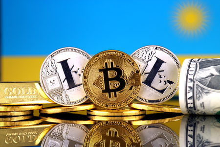Physical version of Bitcoin, Litecoin, gold, US Dollar and Rwanda Flag. Conceptual image for investors in cryptocurrency, gold and dollars.
