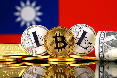Physical version of Bitcoin, Litecoin, gold, US Dollar and Taiwan Flag. Conceptual image for investors in cryptocurrency, gold and dollars. Stock Photo