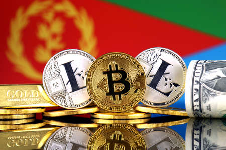 Physical version of Bitcoin, Litecoin, gold, US Dollar and Eritrea Flag. Conceptual image for investors in cryptocurrency, gold and dollars.