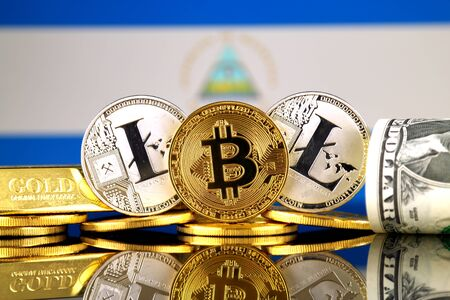 Physical version of Bitcoin, Litecoin, gold, US Dollar and Nicaragua Flag. Conceptual image for investors in cryptocurrency, gold and dollars. Stock Photo