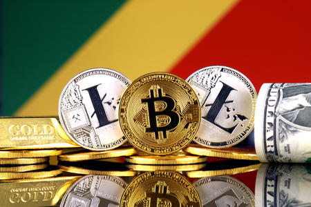 Physical version of Bitcoin, Litecoin, gold, US Dollar and Congo Republic Flag. Conceptual image for investors in cryptocurrency, gold and dollars. Stock Photo