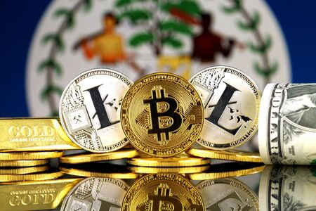 Physical version of Bitcoin, Litecoin, gold, US Dollar and Belize Flag. Conceptual image for investors in cryptocurrency, gold and dollars. Stock Photo