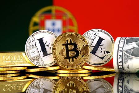 Physical version of Bitcoin, Litecoin, gold, US Dollar and Portugal Flag. Conceptual image for investors in cryptocurrency, gold and dollars.