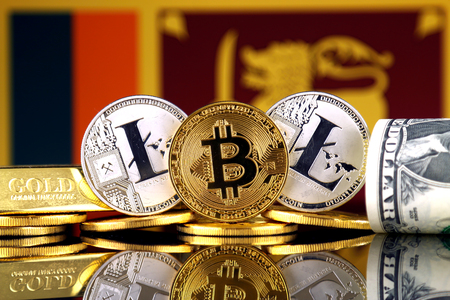 Physical version of Bitcoin, Litecoin, gold, US Dollar and Sri Lanka Flag. Conceptual image for investors in cryptocurrency, gold and dollars. Stock Photo
