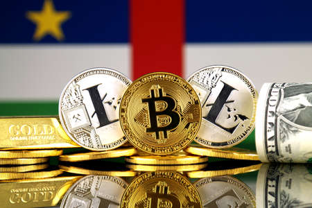Physical version of Bitcoin, Litecoin, gold, US Dollar and Central African Republic Flag. Conceptual image for investors in cryptocurrency, gold and dollars. Stock Photo