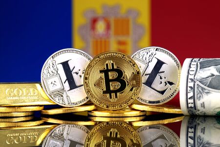 Physical version of Bitcoin, Litecoin, gold, US Dollar and Andorra Flag. Conceptual image for investors in cryptocurrency, gold and dollars.